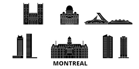 Canada, Montreal flat travel skyline set. Canada, Montreal black city vector panorama, illustration, travel sights, landmarks, streets. Illustration