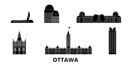 Canada, Ottawa flat travel skyline set. Canada, Ottawa black city vector panorama, illustration, travel sights, landmarks, streets. 일러스트
