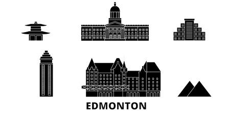 Canada, Edmonton flat travel skyline set. Canada, Edmonton black city vector panorama, illustration, travel sights, landmarks, streets.
