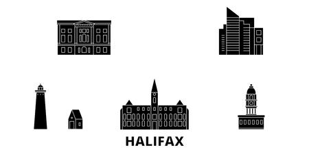 Canada, Halifax plat voyage skyline set. Canada, panorama vectoriel de la ville noire d'Halifax, illustration, sites touristiques, monuments, rues. Vecteurs