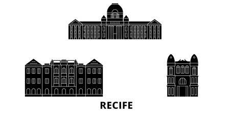 Brazil , Recife flat travel skyline set. Brazil , Recife black city vector panorama, illustration, travel sights, landmarks, streets. 일러스트