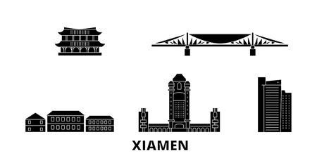China, Xiamen flat travel skyline set. China, Xiamen black city vector panorama, illustration, travel sights, landmarks, streets. Illusztráció