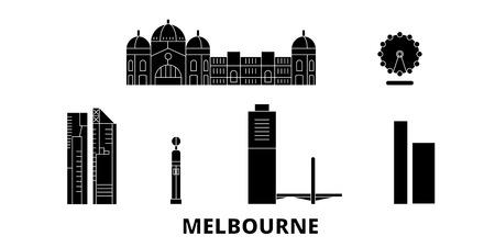Australia, Melbourne City flat travel skyline set. Australia, Melbourne City black city vector panorama, illustration, travel sights, landmarks, streets.