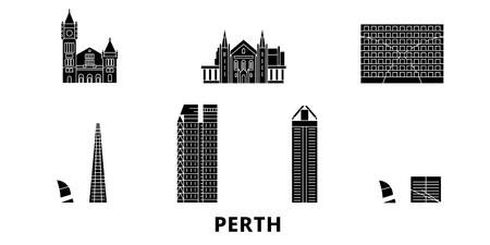 Australia, Perth flat travel skyline set. Australia, Perth black city vector panorama, illustration, travel sights, landmarks, streets.