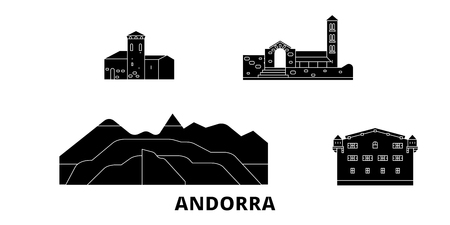 Andorra flat travel skyline set. Andorra black city vector panorama, illustration, travel sights, landmarks, streets. Ilustrace