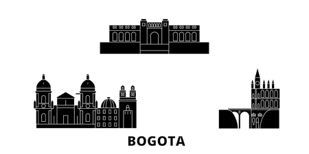 Colombia, Bogota flat travel skyline set. Colombia, Bogota black city vector panorama, illustration, travel sights, landmarks, streets.