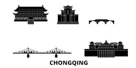 China, Chongqing flat travel skyline set. China, Chongqing black city vector panorama, illustration, travel sights, landmarks, streets.