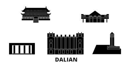 China, Dalian flat travel skyline set. China, Dalian black city vector panorama, illustration, travel sights, landmarks, streets.