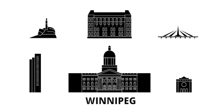 Canada, Winnipeg flat travel skyline set. Canada, Winnipeg black city vector panorama, illustration, travel sights, landmarks, streets. Stock Vector - 123844386