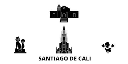 Colombia, Santiago De Cali flat travel skyline set. Colombia, Santiago De Cali black city vector panorama, illustration, travel sights, landmarks, streets.  イラスト・ベクター素材
