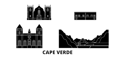 Cape Verde flat travel skyline set. Cape Verde black city vector panorama, illustration, travel sights, landmarks, streets.