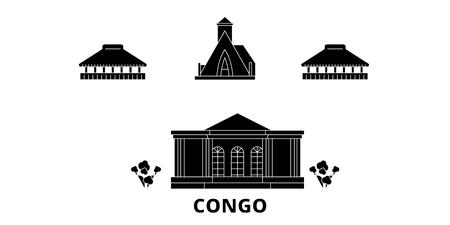 Congo flat travel skyline set. Congo black city vector panorama, illustration, travel sights, landmarks, streets. Standard-Bild - 123844389