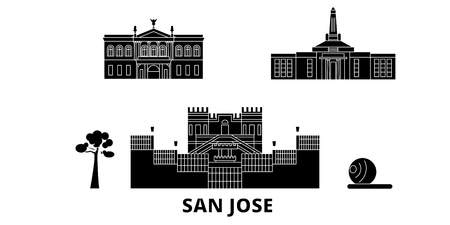Costa Rica, San Jose flat travel skyline set. Costa Rica, San Jose black city vector panorama, illustration, travel sights, landmarks, streets.