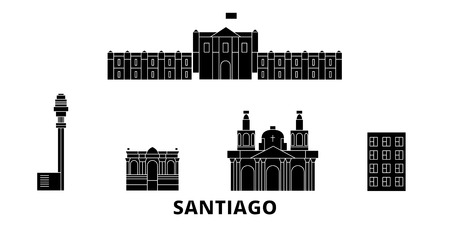 Chile, Santiago flat travel skyline set. Chile, Santiago black city vector panorama, illustration, travel sights, landmarks, streets.