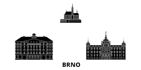 Czech Republic, Brno flat travel skyline set. Czech Republic, Brno black city vector panorama, illustration, travel sights, landmarks, streets.