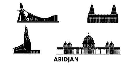 Côte Divoire, ensemble d'horizon de voyage plat d'Abidjan. Côte Divoire, panorama vectoriel de la ville noire d'Abidjan, illustration, sites touristiques, monuments, rues. Vecteurs