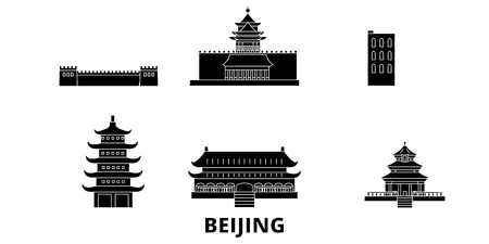 China, Beijing flat travel skyline set. China, Beijing black city vector panorama, illustration, travel sights, landmarks, streets. Illustration