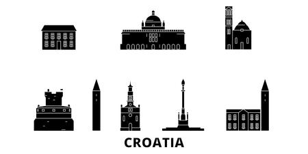 Kroatien flache Reise-Skyline-Set. Kroatien schwarzes Stadtvektorpanorama, Illustration, Reiseanblicke, Sehenswürdigkeiten, Straßen.