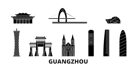 China, Guangzhou flat travel skyline set. China, Guangzhou black city vector panorama, illustration, travel sights, landmarks, streets. Illustration