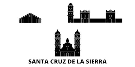 Bolivia, Santa Cruz De La Sierra flat travel skyline set. Bolivia, Santa Cruz De La Sierra black city vector panorama, illustration, travel sights, landmarks, streets.