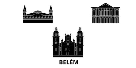 Brazil , Belem flat travel skyline set. Brazil , Belem black city vector panorama, illustration, travel sights, landmarks, streets.
