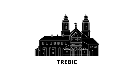 Czech Republic, Trebic flat travel skyline set. Czech Republic, Trebic black city vector panorama, illustration, travel sights, landmarks, streets.
