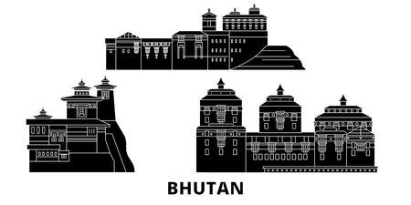 Bhutan flat travel skyline set. Bhutan black city vector panorama, illustration, travel sights, landmarks, streets.