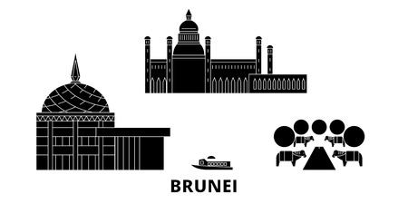 Brunei flat travel skyline set. Brunei black city vector panorama, illustration, travel sights, landmarks, streets.