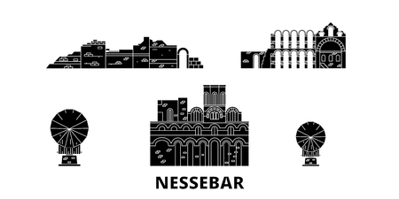 Bulgaria, Nessebar flat travel skyline set. Bulgaria, Nessebar black city vector panorama, illustration, travel sights, landmarks, streets. Çizim