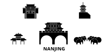 China, Nanjing flat travel skyline set. China, Nanjing black city vector panorama, illustration, travel sights, landmarks, streets.