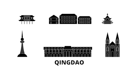 China, Qingdao flat travel skyline set. China, Qingdao black city vector panorama, illustration, travel sights, landmarks, streets.