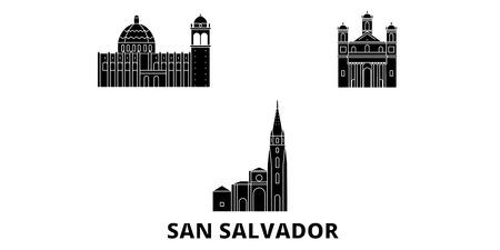 El Salvador, San Salvador flat travel skyline set. El Salvador, San Salvador black city vector panorama, illustration, travel sights, landmarks, streets.