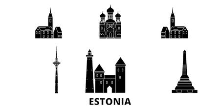 Estland flache Reise-Skyline-Set. Estland schwarzes Stadtvektorpanorama, Illustration, Reiseanblicke, Sehenswürdigkeiten, Straßen. Vektorgrafik