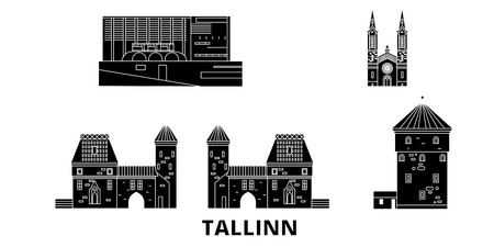Estland, Tallinn flache Reise-Skyline-Set. Estland, Tallinn schwarzes Stadtvektorpanorama, Illustration, Reiseanblicke, Sehenswürdigkeiten, Straßen.