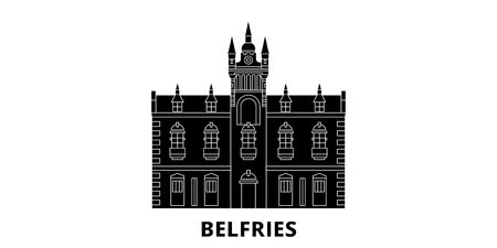 France, Belfries Landmark flat travel skyline set. France, Belfries Landmark black city vector panorama, illustration, travel sights, landmarks, streets. Çizim