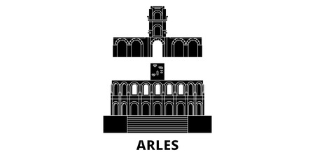 France, Arles flat travel skyline set. France, Arles black city vector panorama, illustration, travel sights, landmarks, streets.  イラスト・ベクター素材