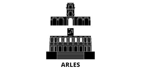 France, Arles flat travel skyline set. France, Arles black city vector panorama, illustration, travel sights, landmarks, streets. Illustration