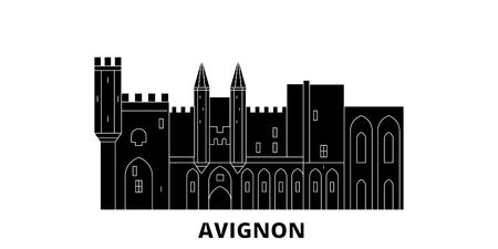 France, Avignon Landmark flat travel skyline set. France, Avignon Landmark black city vector panorama, illustration, travel sights, landmarks, streets.