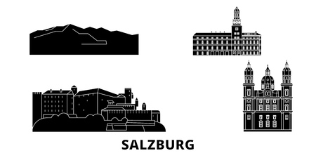 Austria, Salzburg flat travel skyline set. Austria, Salzburg black city vector panorama, illustration, travel sights, landmarks, streets.