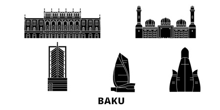 Azerbaijan, Baku flat travel skyline set. Azerbaijan, Baku black city vector panorama, illustration, travel sights, landmarks, streets.