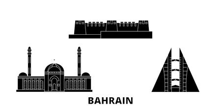 Ensemble d'horizon de voyage plat de Bahreïn. Panorama vectoriel de la ville noire de Bahreïn, illustration, sites touristiques, monuments, rues.