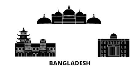 Bangladesh, Chittagong flat travel skyline set. Bangladesh, Chittagong black city vector panorama, illustration, travel sights, landmarks, streets. Illustration
