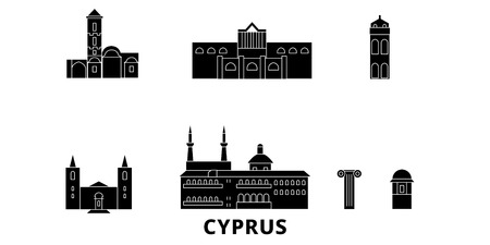 Cyprus flat travel skyline set. Cyprus black city vector panorama, illustration, travel sights, landmarks, streets.