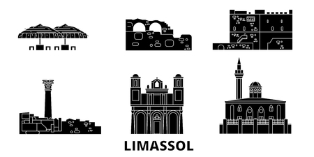 Cyprus, Limassol flat travel skyline set. Cyprus, Limassol black city vector panorama, illustration, travel sights, landmarks, streets.