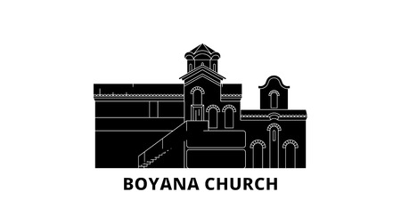 Bulgaria, Sofia, Boyana Church flat travel skyline set. Bulgaria, Sofia, Boyana Church black city vector panorama, illustration, travel sights, landmarks, streets.