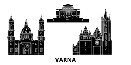 Bulgaria, Varna flat travel skyline set. Bulgaria, Varna black city vector panorama, illustration, travel sights, landmarks, streets.