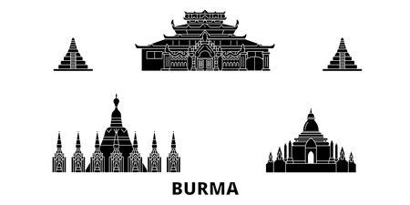 Burma flat travel skyline set. Burma black city vector panorama, illustration, travel sights, landmarks, streets. Ilustração