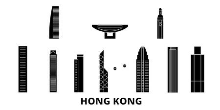 China, Hong Kong flat travel skyline set. China, Hong Kong black city vector panorama, illustration, travel sights, landmarks, streets.