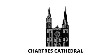 France, Chartres Cathedral Landmark flat travel skyline set. France, Chartres Cathedral Landmark black city vector panorama, illustration, travel sights, landmarks, streets.  イラスト・ベクター素材