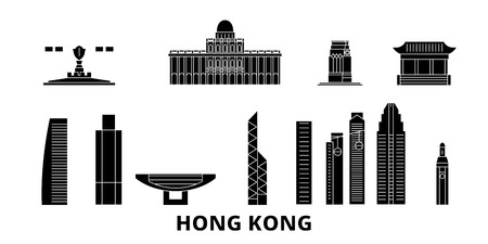 China, Hong Kong City flat travel skyline set. China, Hong Kong City black city vector panorama, illustration, travel sights, landmarks, streets.